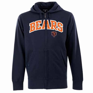 Chicago Bears Mens Applique Full Zip Hooded Sweatshirt (Team Color: Navy)