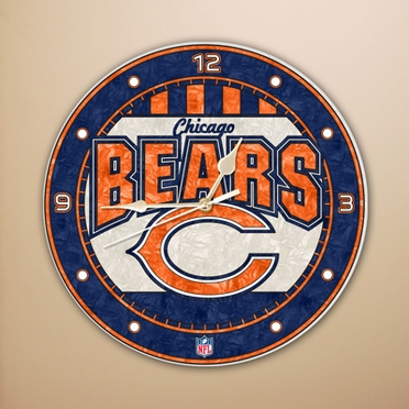 Chicago Bears Art Glass Clock