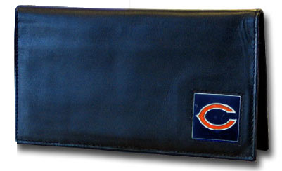 Chicago Bears Black Leather and Nylon Checkbook Cover