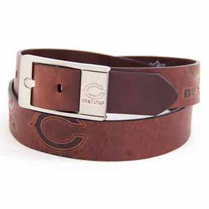 Chicago Bears Brown Leather Brandished Belt - 34 Waist