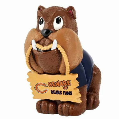 Chicago Bears Bulldog Holding Sign Figurine