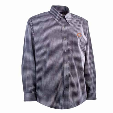 Chicago Bears Mens Esteem Check Pattern Button Down Dress Shirt (Team Color: Navy)