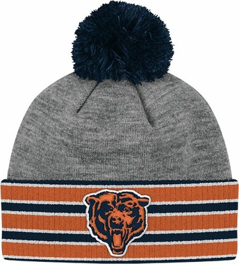 Chicago Bears Jersey Stripe Vintage Cuffed Pom Hat (Grey)