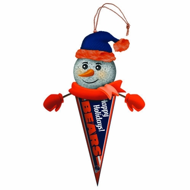 Chicago Bears Light Up Snowman Pennant Ornament (Set of 3)