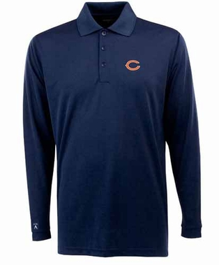Chicago Bears Mens Long Sleeve Polo Shirt (Color: Navy) - X-Large