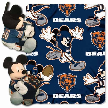 Chicago Bears Mickey Mouse Pillow / Throw Combo