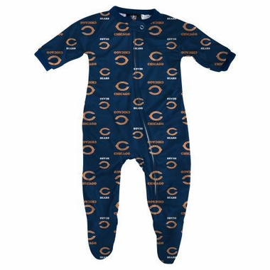 Chicago Bears NFL Infant Footed Raglan Zip Up Sleeper