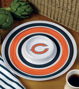 Chicago Bears Plastic Chip and Dip Plate