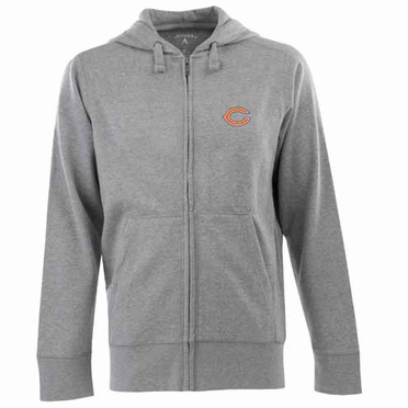 Chicago Bears Mens Signature Full Zip Hooded Sweatshirt (Color: Gray)