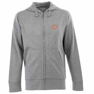 Chicago Bears Mens Signature Full Zip Hooded Sweatshirt (Color: Gray) - Small