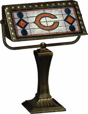 Chicago Bears Stained Glass Bankers Lamp