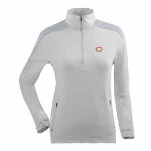 Chicago Bears Womens Succeed 1/4 Zip Performance Pullover (Color: White) - Large