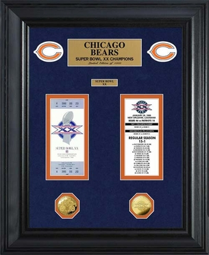 Chicago Bears Chicago Bears Super Bowl Ticket and Game Coin Collection Framed