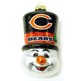 Chicago Bears Tophat Snowman Glass Ornament
