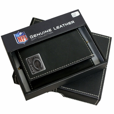 Chicago Bears Trifold Wallet With Metal Logo