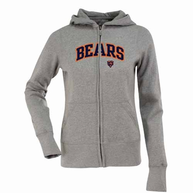 Chicago Bears Applique Womens Zip Front Hoody Sweatshirt (Color: Gray)