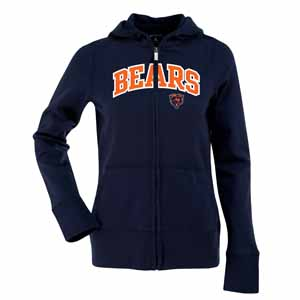 Chicago Bears Applique Womens Zip Front Hoody Sweatshirt (Team Color: Navy) - Small