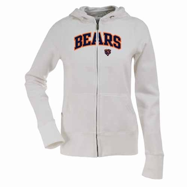 Chicago Bears Applique Womens Zip Front Hoody Sweatshirt (Color: White)