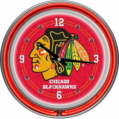 Chicago Blackhawks 14 Inch Neon Clock