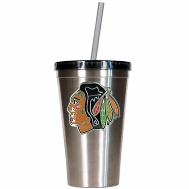 Chicago Blackhawks 16oz Stainless Steel Insulated Tumbler with Straw