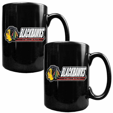 Chicago Blackhawks 2 Piece Coffee Mug Set (Wordmark)