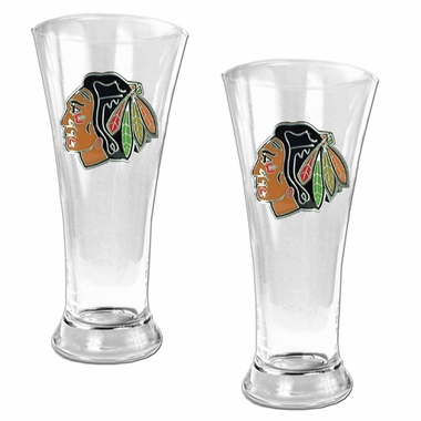 Chicago Blackhawks 2 Piece Pilsner Glass Set