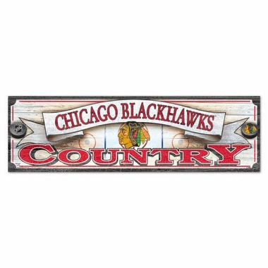 Chicago Blackhawks 9 x 30 Inch Wood Sign