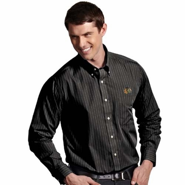 Chicago Blackhawks Mens Achieve Striped Button Down Dress Shirt (Team Color: Black)