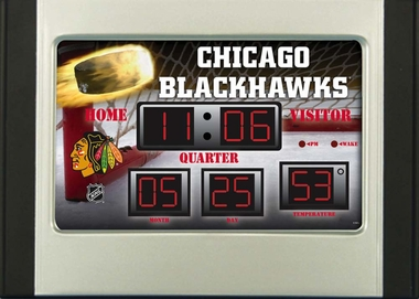 Chicago Blackhawks Alarm Clock Desk Scoreboard