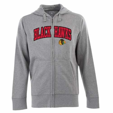 Chicago Blackhawks Mens Applique Full Zip Hooded Sweatshirt (Color: Gray)
