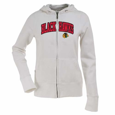 Chicago Blackhawks Applique Womens Zip Front Hoody Sweatshirt (Color: White)