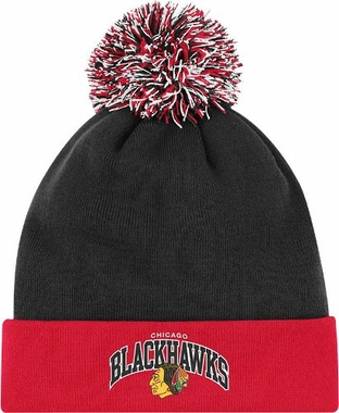 Chicago Blackhawks Arched Logo Vintage Cuffed Pom Hat