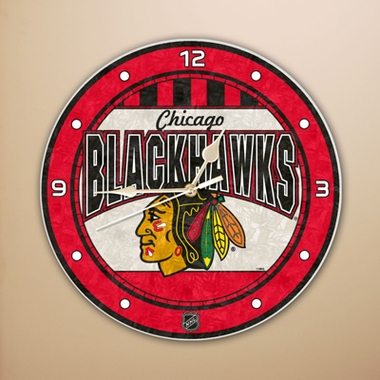 Chicago Blackhawks Art Glass Clock