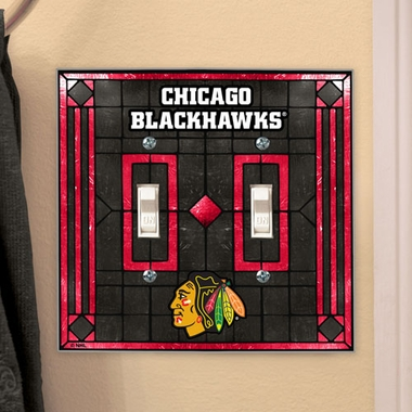 Chicago Blackhawks Art Glass Lightswitch Cover (Double)