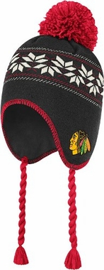 Chicago Blackhawks CCM Tassel Pom Snowflake Knit Hat