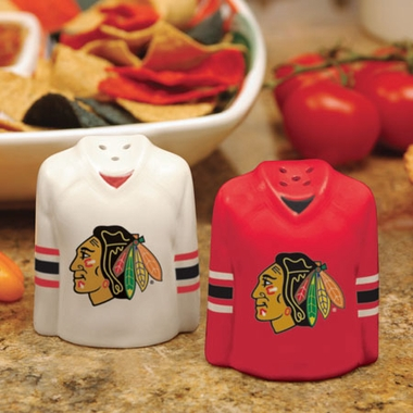 Chicago Blackhawks Ceramic Jersey Salt and Pepper Shakers