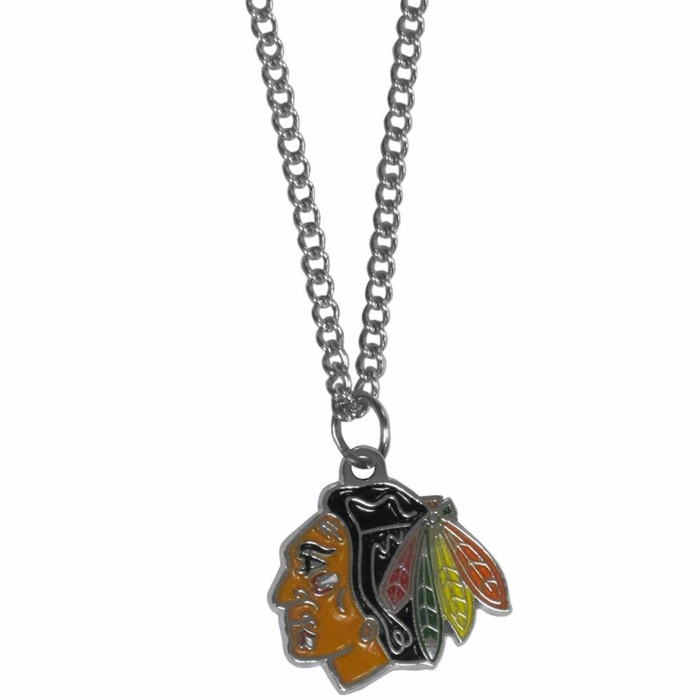 chicago blackhawks chain necklace with small charm f