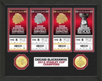 Chicago Blackhawks Chicago Blackhawks Stanley Cup Ticket and Bronze Coin Collection