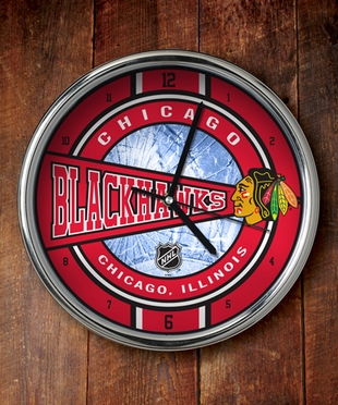 Chicago Blackhawks Chrome Clock