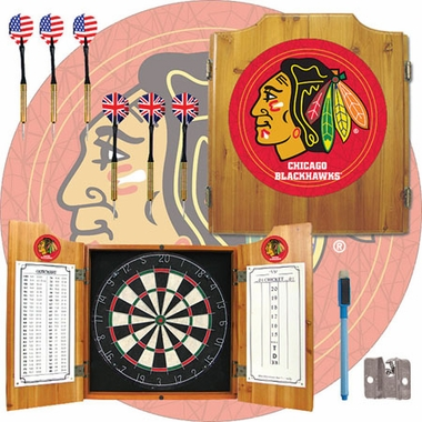 Chicago Blackhawks Complete Dart Cabinet
