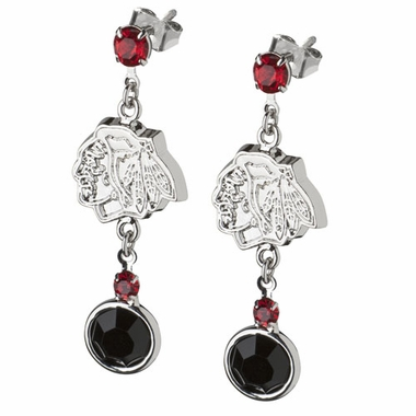 Chicago Blackhawks Crystal Logo Dangle Earrings