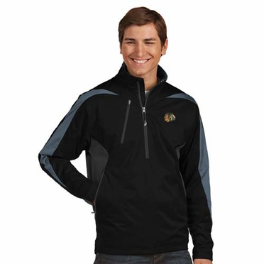 Chicago Blackhawks Mens Discover 1/4 Zip Pullover (Team Color: Black)