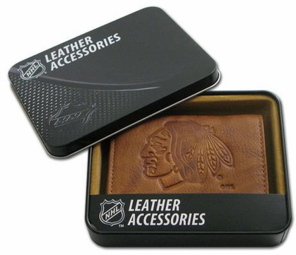 Chicago Blackhawks Embossed Leather Trifold Wallet