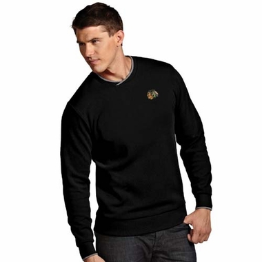 Chicago Blackhawks Mens Executive Crew Sweater (Team Color: Black)