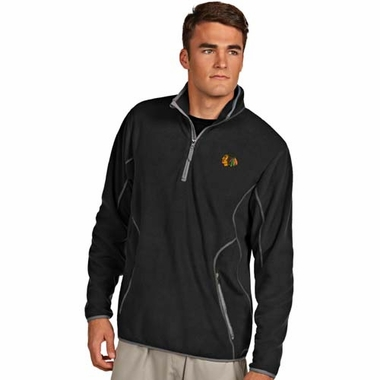Chicago Blackhawks Mens Ice Polar Fleece Pullover (Team Color: Black)