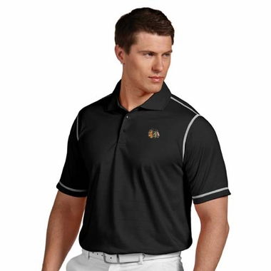 Chicago Blackhawks Mens Icon Polo (Team Color: Black)