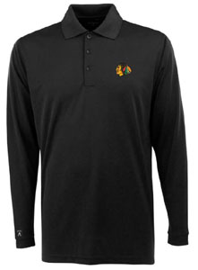 Chicago Blackhawks Mens Long Sleeve Polo Shirt (Team Color: Black) - Medium