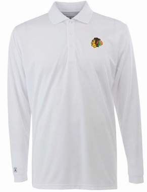 Chicago Blackhawks Mens Long Sleeve Polo Shirt (Color: White)