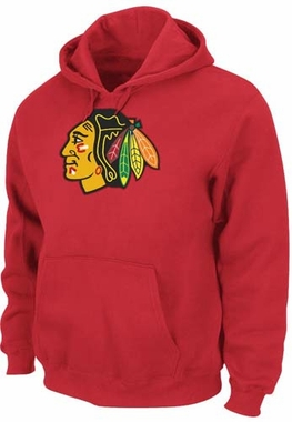 Chicago Blackhawks Majestic Felt Tek Patch Logo Hooded Sweatshirt - Red