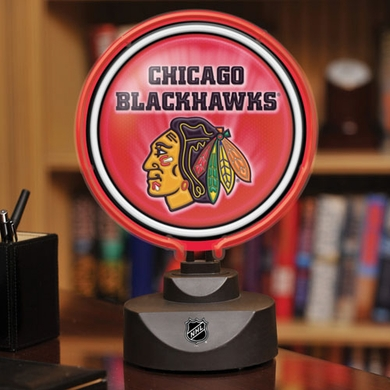 Chicago Blackhawks Neon Display Puck